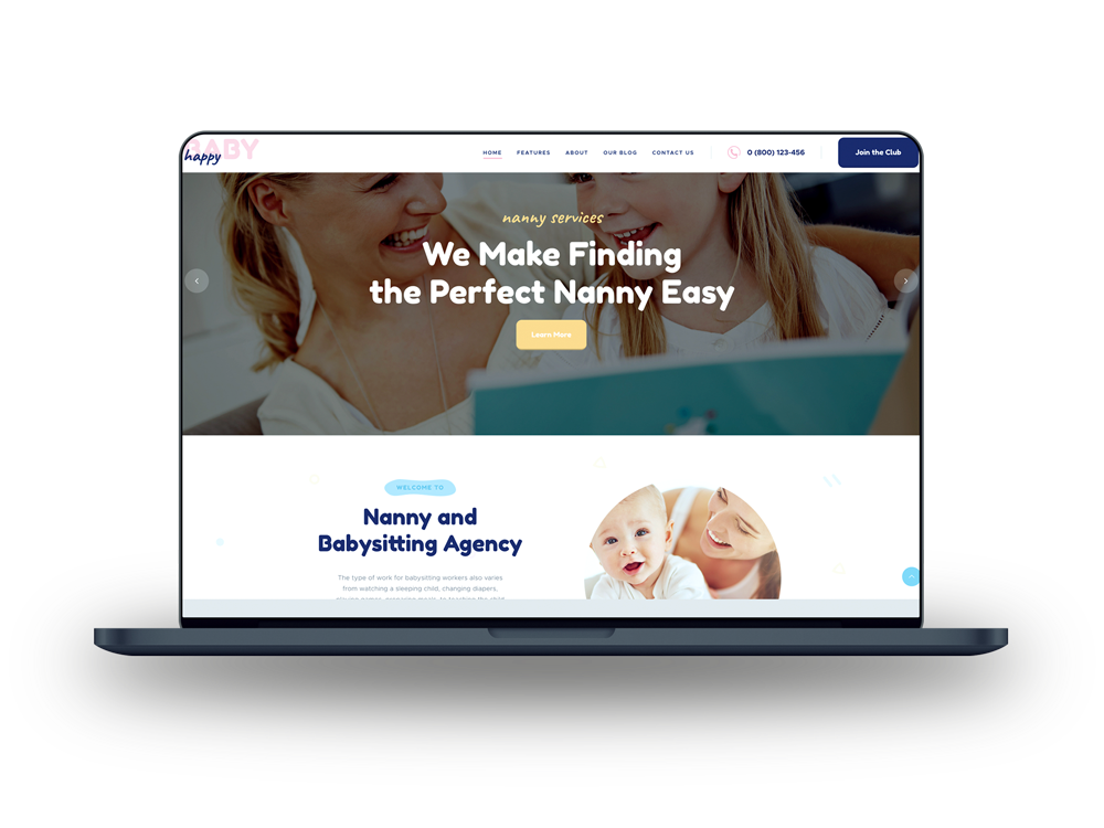 Nanny babysitting website on a laptop