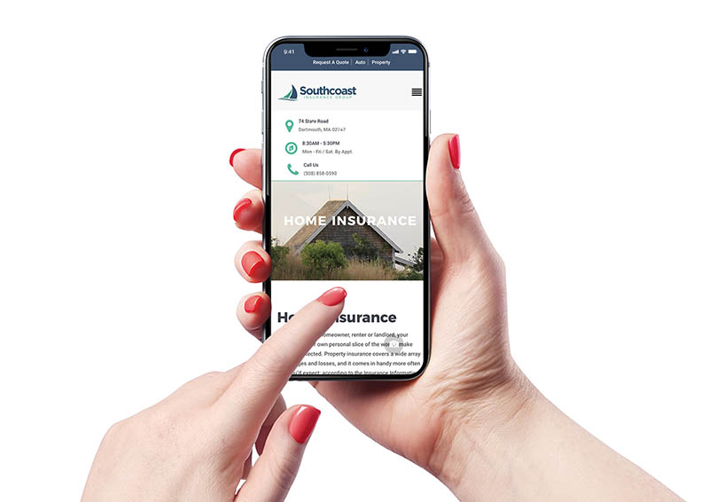 Southcoast Insurance Group website on mobile phone